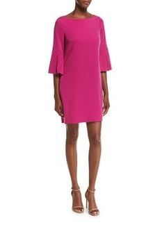 Badgley Mischka Bell-Sleeve Ponte Cocktail Dress