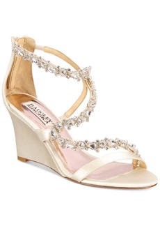 Badgley Mischka Bennet Strappy Wedge Evening Sandals Women's Shoes