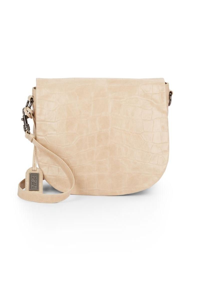 Badgley Mischka Bette Embossed Leather Saddle Bag