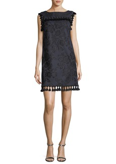 Badgley Mischka Boat-Neck Sleeveless Embroidered Shift Dress w/ Tassels