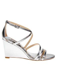Badgley Mischka Bonanza Metallic Leather Wedge Heels
