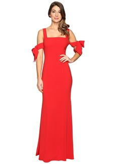 Badgley Mischka Bow Sleeve Off the Shoulder Gown