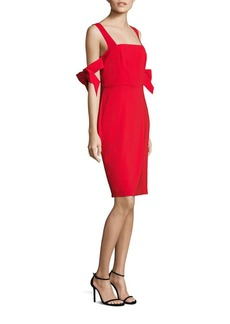 Badgley Mischka Bow Sleeve Sheath Dress