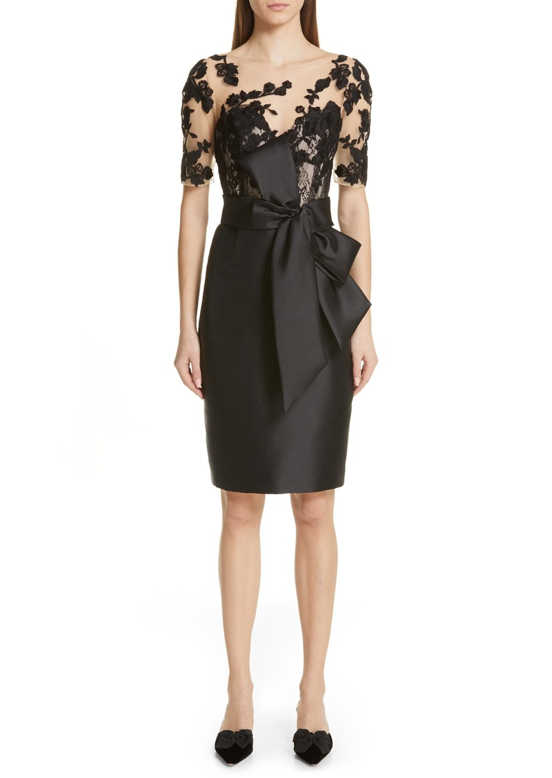 Badgley Mischka Lace Accent Bow Cocktail Dress