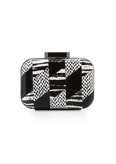 Badgley Mischka Brenda Snake-Embossed Leather Evening Clutch Bag