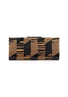 Badgley Mischka Brittany Snake-Embossed Leather Evening Clutch Bag