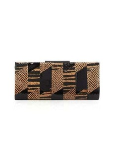 Badgley Mischka Brittany Snake-Embossed Leather Evening Clutch Bag