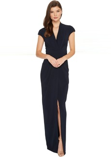 Badgley Mischka Cap Sleeve Crepe Dress