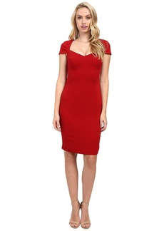 Badgley Mischka Cap Sleeve Stretch Crepe Short Dress