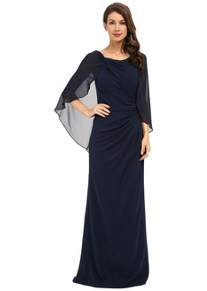 Badgley Mischka Cape Gown