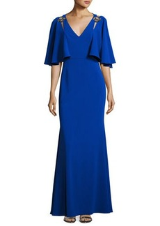 Badgley Mischka Cape-Sleeve Embellished Stretch Crepe Gown