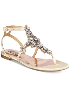 Badgley Mischka Cara Embellished Flat Evening Sandals Women's Shoes