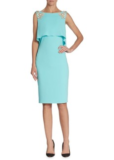 Badgley Mischka Cascade Back Sheath Dress