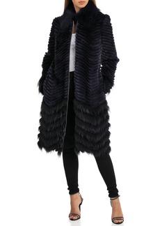 Badgley Mischka Chevron Knit Genuine Fur Coat