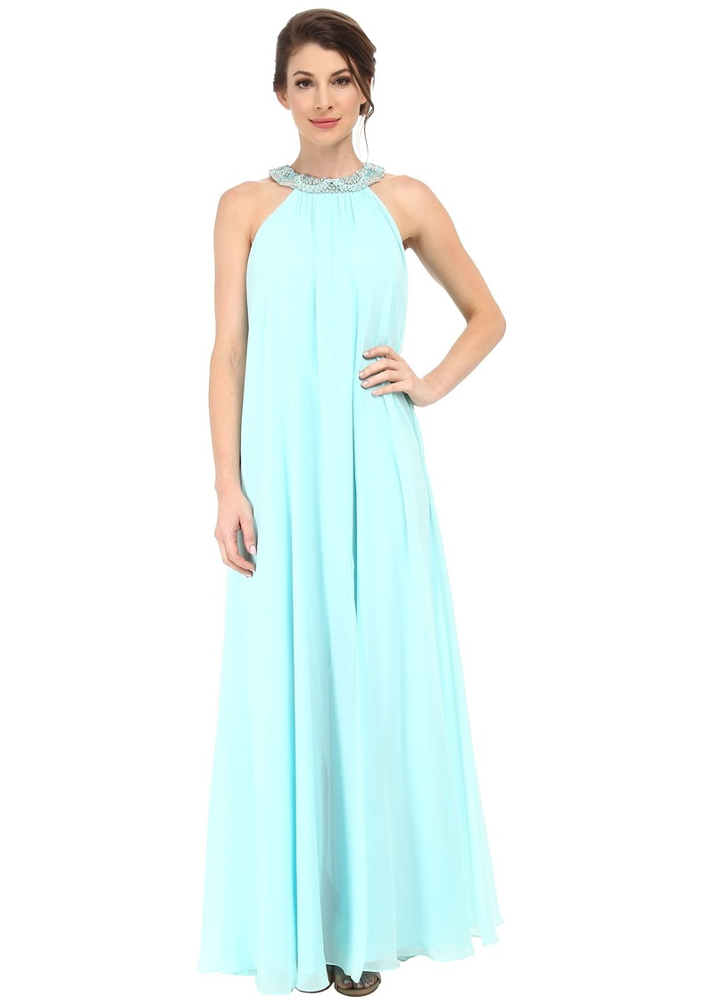 Badgley Mischka Chiffon Halter Maxi with Necklace