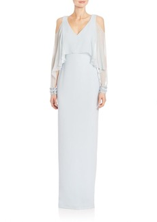Badgley Mischka Cold-Shoulder Cape Sleeve Gown