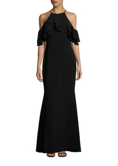 Badgley Mischka Cold-Shoulder Ruffle Gown