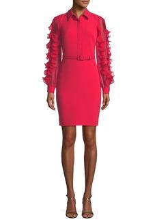 Badgley Mischka Collared Sheath Dress w/ Pleated Ruffle Sleeves
