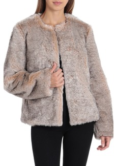Badgley Mischka Collarless Faux Fur Jacket