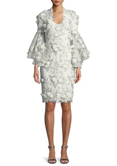Badgley Mischka 3D Floral Applique Bell-Sleeve Cocktail Dress