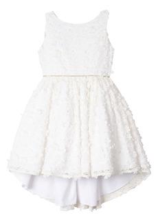 Badgley Mischka Collection 3D Flower High/Low Dress (Little Girl & Big Girl)