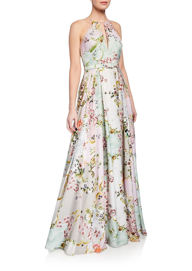 Badgley Mischka Collection Alice Floral-Print Keyhole Halter Gown