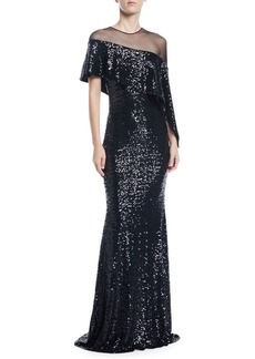 Badgley Mischka Collection Asymmetric Cape & Popover Sequin Gown