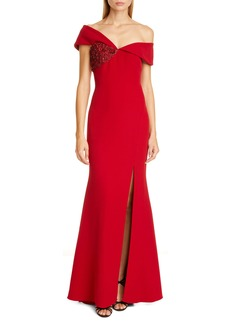 Badgley Mischka Collection Asymmetrical Off the Shoulder Gown