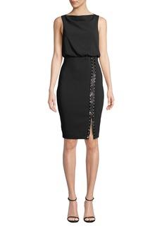 Badgley Mischka Collection Bateau-Neck Sleeveless Blouson Dress w/ Embellished Skirt & Zip Hem