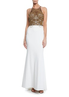 Badgley Mischka Collection Beaded Halter Column Gown with Keyhole Back