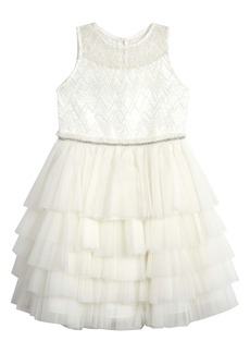 Badgley Mischka Collection Beaded Tulle Party Dress (Little Girl)