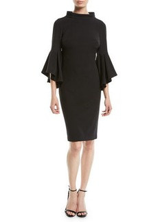 Badgley Mischka Collection Bell-Sleeve Faille Cocktail Dress