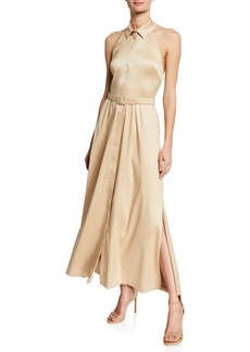Badgley Mischka Collection Belted Mikado Halter Shirtdress