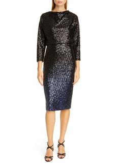 Badgley Mischka Collection Blouson Sequin Cocktail Dress
