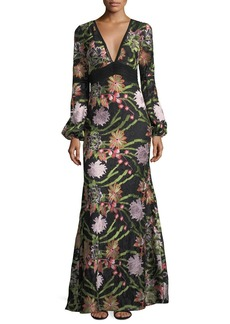 Badgley Mischka Collection Boho Long-Sleeve Lace Embroidery Gown