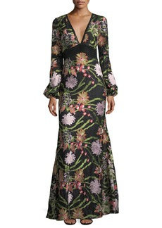 Badgley Mischka Boho Long-Sleeve Lace Embroidery Gown