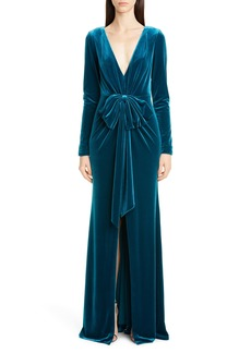 Badgley Mischka Collection Bow Front Long Sleeve Velvet Gown