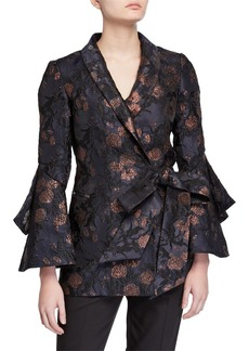 Badgley Mischka Collection Brocade Trumpet-Sleeve Side-Tie Jacket