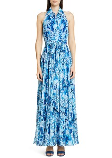 Badgley Mischka Collection Brushstroke Print Shirtdress Gown