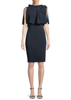 Badgley Mischka Capelet Bow-Shoulder Popover Sheath Dress