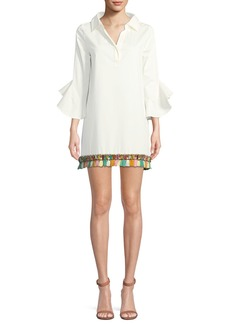 Badgley Mischka Collection Collared Tassel Fringe Mini Tunic Dress