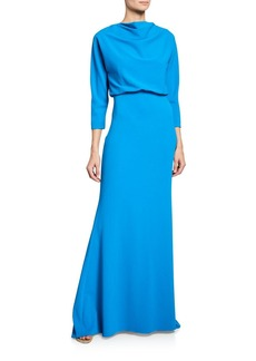 Badgley Mischka Collection Cowl-Neck 3/4-Sleeve Dolman Gown