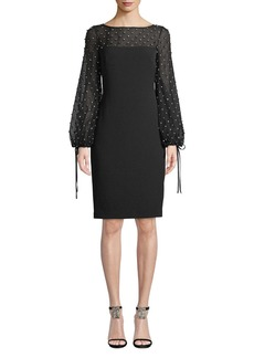 Badgley Mischka Collection Crystal-Trim Balloon-Sleeve Sheath Cocktail Dress