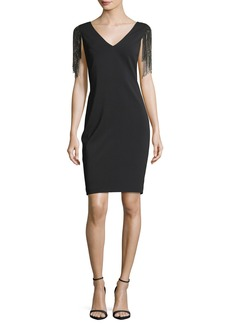 Badgley Mischka Deep-V Beaded Sleeves Sheath Cocktail Dress