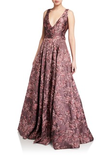 Badgley Mischka Collection Deep V-Neck Sleeveless Brocade Ball Gown
