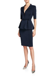 Badgley Mischka Collection Elbow-Sleeve Retro Peplum Coat Dress