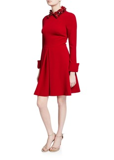 Badgley Mischka Collection Embellished Collar Long-Sleeve Inverted Pleat Shirtdress