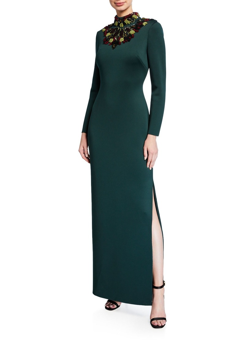 Badgley Mischka Collection Embellished Mock-Neck Long-Sleeve Cutout-Back Scuba Gown
