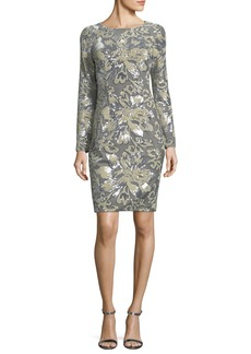 Badgley Mischka Embellished Sequin Long-Sleeve Cocktail Sheath Dress