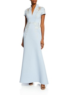 Badgley Mischka Collection Embroidered Scuba Stand-Collar Gown